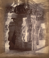 Portion of colonnade, showing pillars with sculptured figures, Ramalingeshvara Temple, Rameswaram